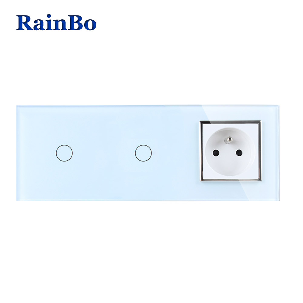 RainBo Crystal Glass Panel France Power Socket EU Touch Socket Control Screen Wall Light Switch 1gang1way A3911118FCW/B rainbo touch screen control tempered crystal glass panel wall light touch switch socket wall power usb socket a29118e2uscw b