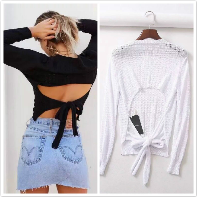 Backless bow knitted lace up T shirt women O neck casual pullover female 2018 autumn knitting sexy summer sunscreen shirt femme