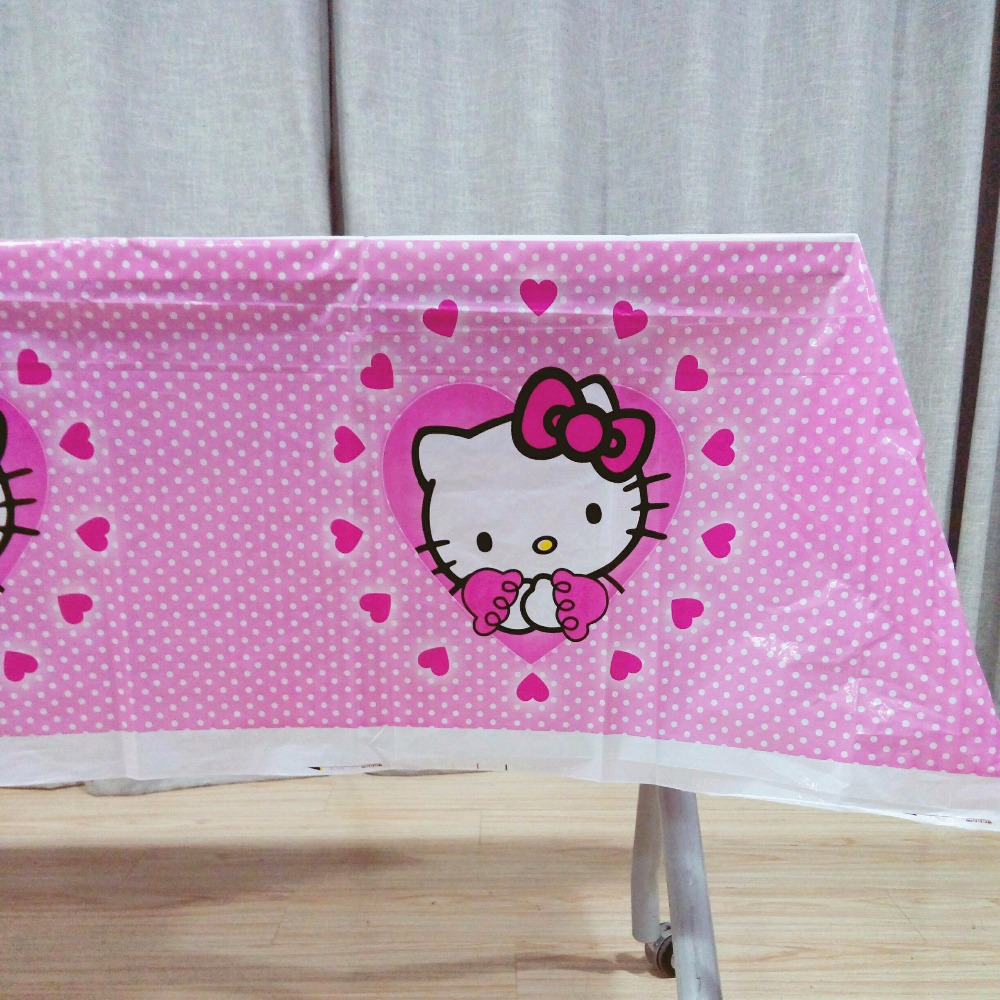 108cm*180cm/set Hello Kitty Table Cloth Cartoon Theme Party Birthday Party Decoration Disposal Kids Favor Party Supplies Set