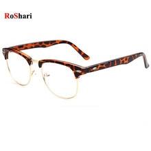 RoShari Vintage sun glasses men Leopards Clear Lens Nerd Geek sunglasses women brand designer gafas oculos de sol masculino