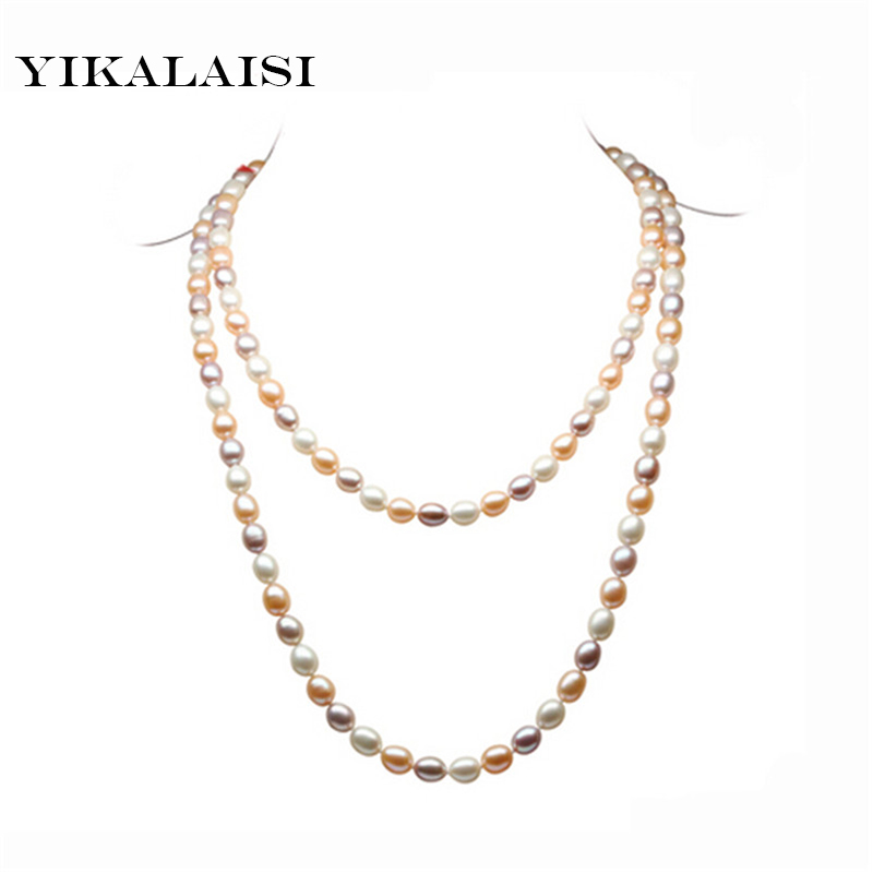 купить YIKALAISI 2017 NEW Long Pearl Necklace Natural Freshwater Pearl Mix-color Choker Charm Accessories Statement Necklace For Women по цене 3135.4 рублей
