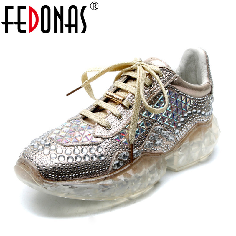 FEDONAS 2019 New Brand Design Women Flats Top Quality Blingbling Casual Shoes Fashion high heels Basic Spring Summer Shoes Woman