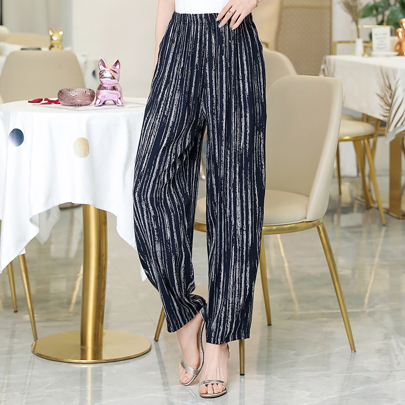 2019 New Summer Pants Women Vintage Elastic Waist Print Floral Elegant Trousers Female Casual Wide Leg Pants Plus Size XL-5XL