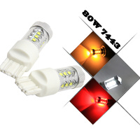 2x RED White Yellow W21 5W 7443 7440 7441 7444 992 T20 80W High Power Backup