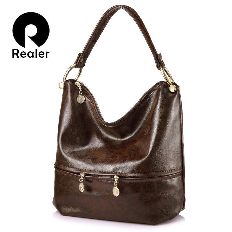 REALER brand luxury handbags women bags designer high quality female  shoulder bag PU leather ladies large tote ... 0f8acefb2eccc