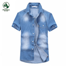 С коротким рукавом рубашки мужские джинсы летние случайные мужские короткие рубашки БАЗА
