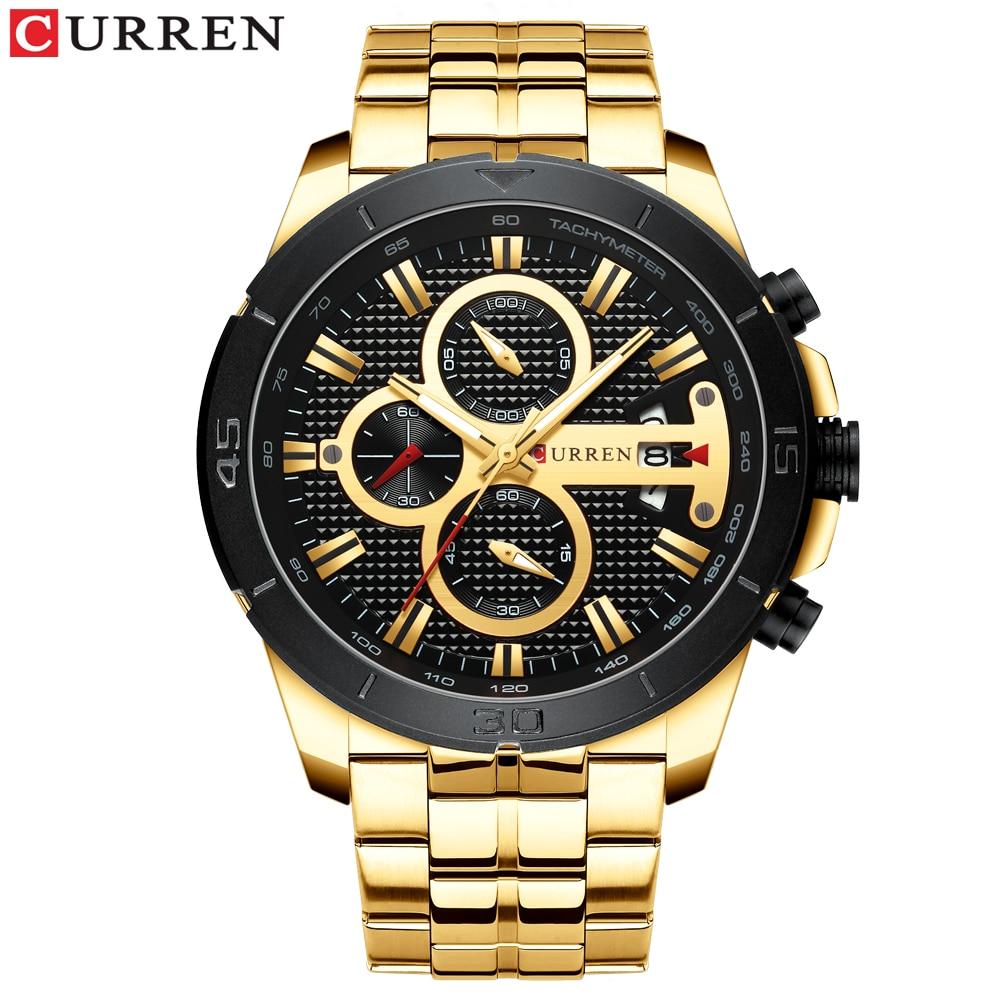 Image 2 - CURREN Элитный бренд Нержавеющаясталь спортивные часы Для мужчин Новый хронограф Наручные часы модные Повседневное Дата кварцевые часы Для мужчин s часыКварцевые часы   -