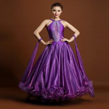 Adult performance costumes modern dance one piece dress rhinestones halter neck big flare hem luxury dress