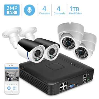 4CH 1080P POE NVR Kit Security Camera System 1080P 2.0MP IR Indoor Outdoor CCTV Dome POE IP Camera P2P Video Surveillance Set - DISCOUNT ITEM  52% OFF Security & Protection