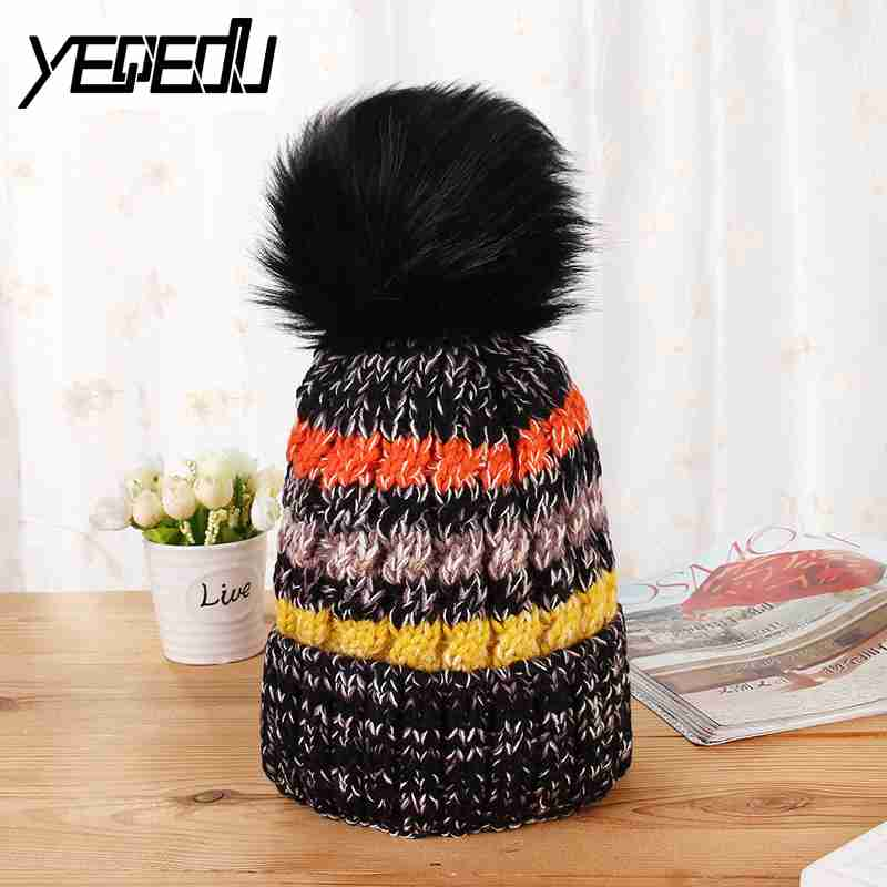 #3237 2017 Thick Fleece Gorros Wool Hat Beanie Knitted Skullies women Pompom Warm Ladies Knit Cap Winter Hats For Women Bonnet unisex 1d one direction letter hats gorros bonnets winter cap skullies beanie female hihop knitted hat toucas with pompom ball
