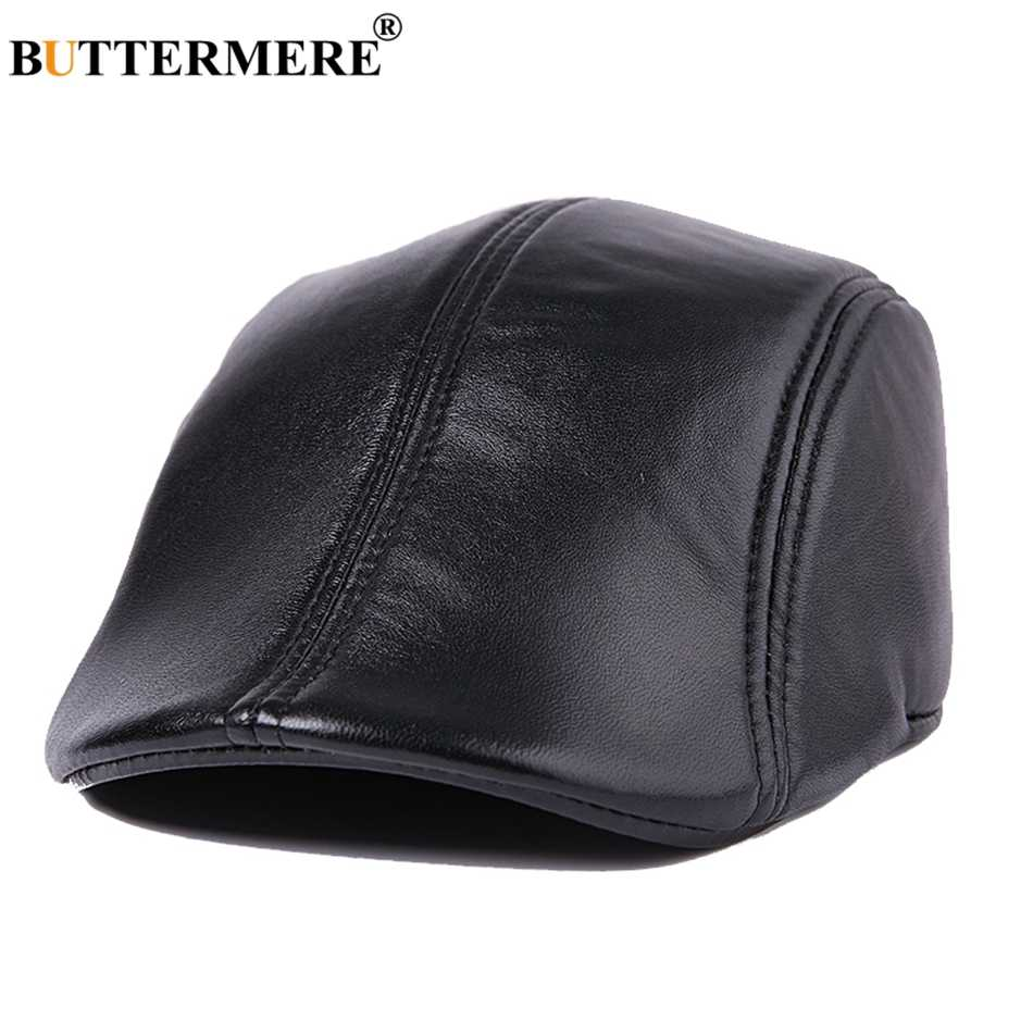 c1414a9db1c7e BUTTERMERE Men Flat Berets Cap Real Leather Casual Vintage Sheepskin Gatsby  Cap Winter Warm British Classic