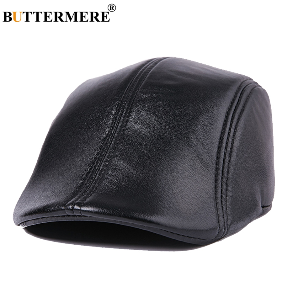BUTTERMERE Men Flat Berets Cap Real Leather Casual Vintage Sheepskin Gatsby Cap Winter Warm British Classic Duckbill Hat And Cap