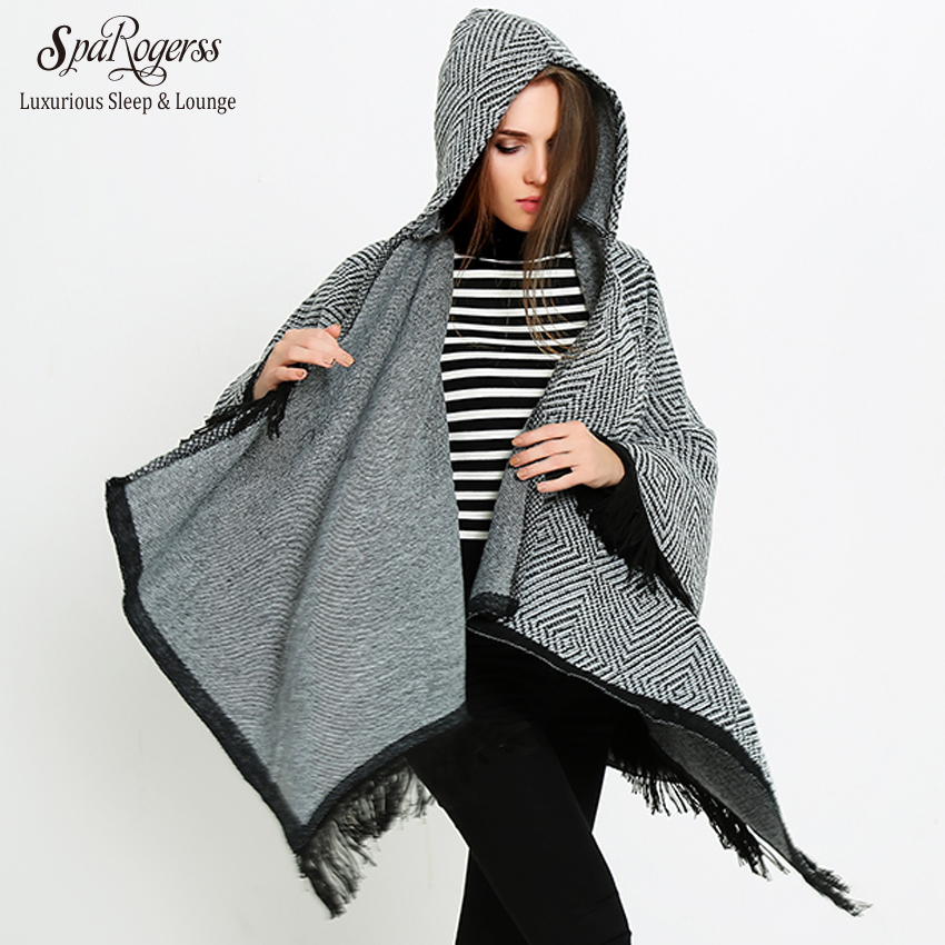 SpaRogerss Brand Hooded Women Poncho Winter 2018 Faux Cashmere Tassel Female Cardigan Cloak Knitted Thick Sweater Coats MT2563