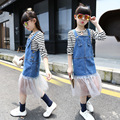 Crianças Meninas Suspender Vestido 2017 Nova Primavera Princesa Meninas Denim Vestido com Rendas Crianças Vestidos de Meninas Roupas Grandes Meninas Azul
