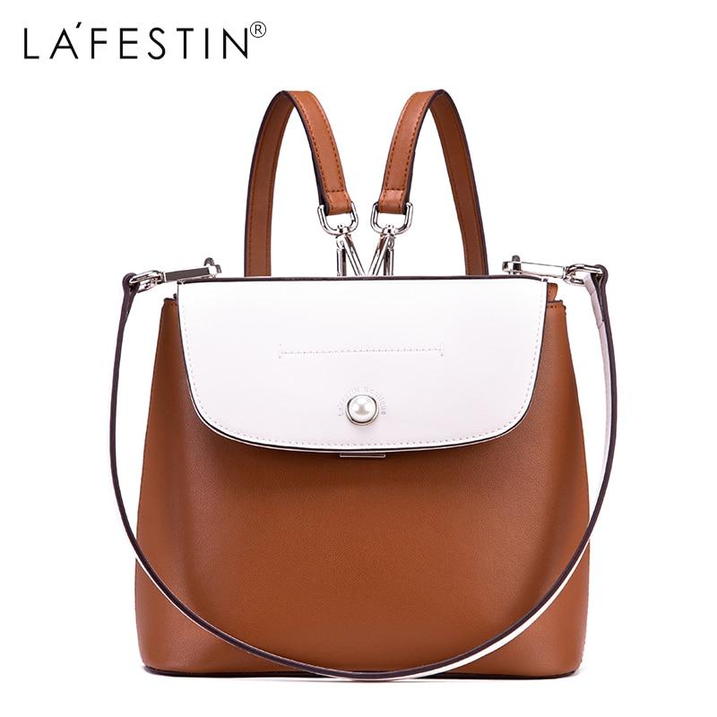 купить LAFESTIN Leather Backpack Mini Women Canvas Patchwork Black White Backpack Girls School Bags Genuine Leather Backpack Mochilas по цене 3271.69 рублей