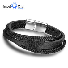 Genuine Leather Bracelets For Men Jewelry Stainless Steel Bracelets & Bangles Fashion Best Gift for Men(JewelOra BA101881)(China)