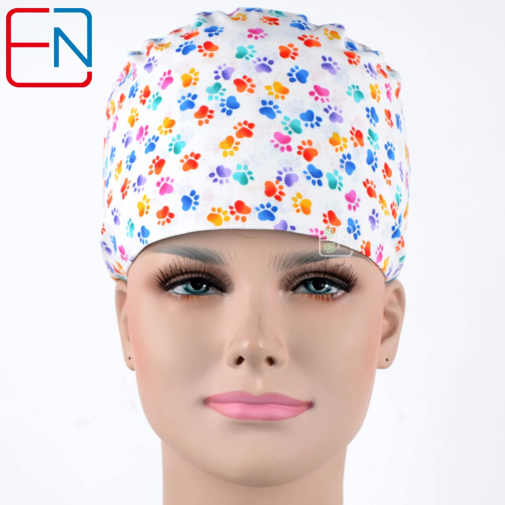 Top Quality Medical Scrub Caps In White With Foot Prints