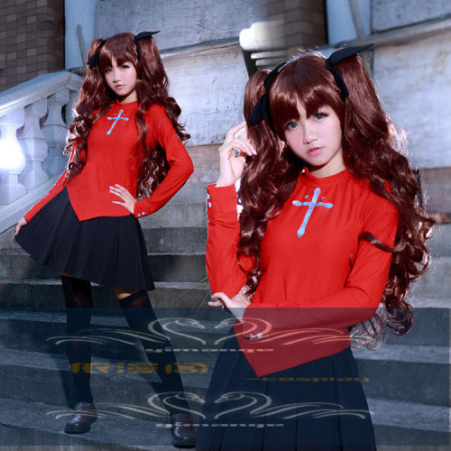 Newest! Fate/stay Night Fate Zero Tohsaka Rin Cosplay Red Womens Fate Stay Night Cosplay Costume with hair accesspry