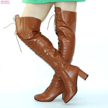 NAYIDUYUN      Winter Thigh High Long Boots Women Lace Up High Heel Square Toe Over The Knee High Boots Party Punk Pumps Shoes