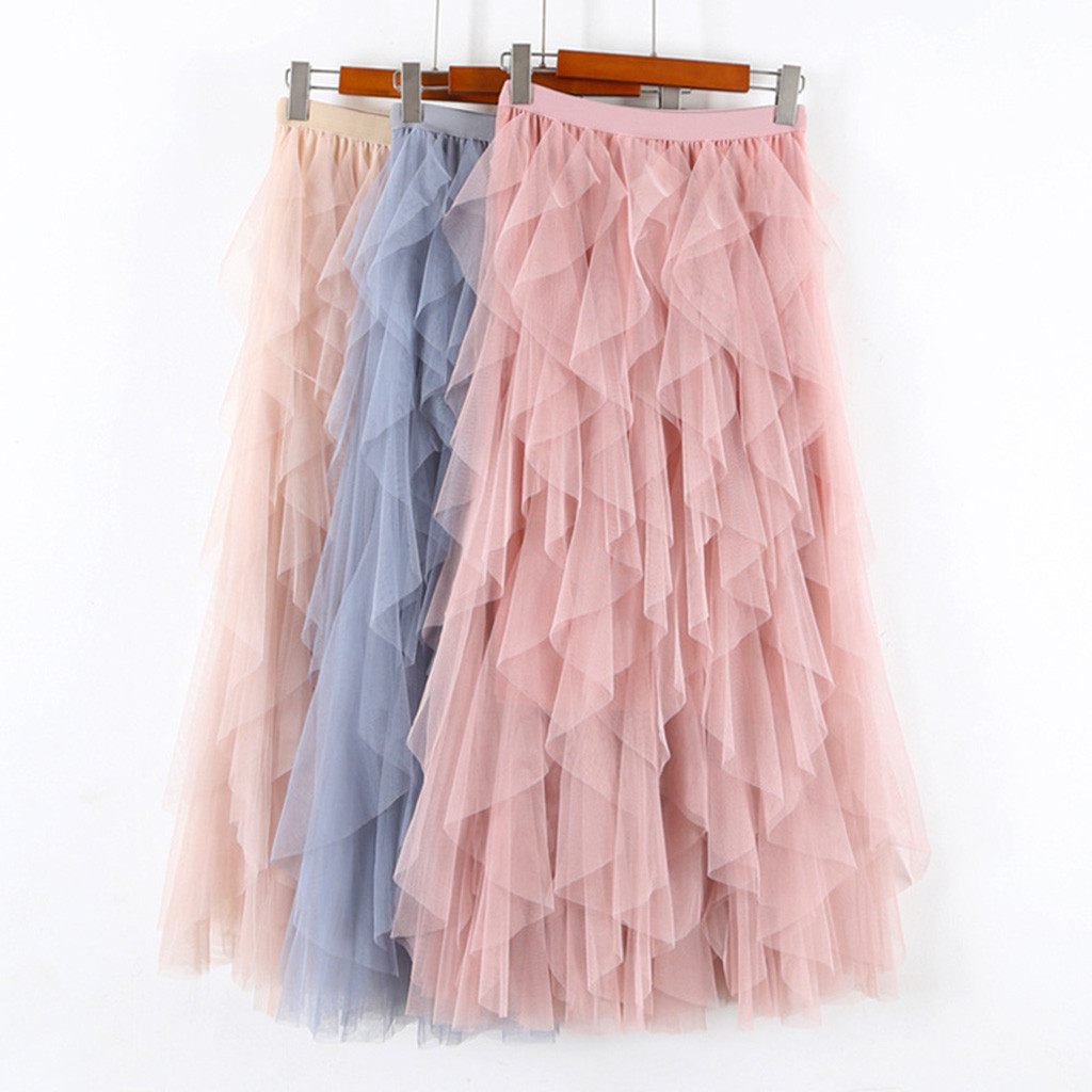 KLV Casual Womens Solid Ball Gown Skirt  Tulle High Waist Pleated Tutu Skirt Ladies Wild Mesh Dating Skirts Drop 3.29