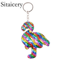 Sitaicery Colorful Sequins Flamingo Keychain Charms Paillette Pendants Bird Keyring DIY Mermaid Jewelry Accessories