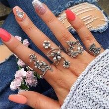 Conjunto de 4 Uds de anillos de ópalo de fuego Natural, anillo de flores, joyería Retro de boda, regalo de boda, anillos de mujer, anillo femenino FD