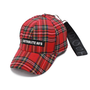 2018 spring new fashion baseball cap red plaid letter tide duck tongue hat plaid