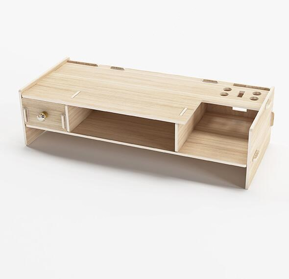 Wooden Monitor Stand Riser Desktop Rack Computer Desk Organizer with Keyboard Mouse Storage Slots for Office Supplies School