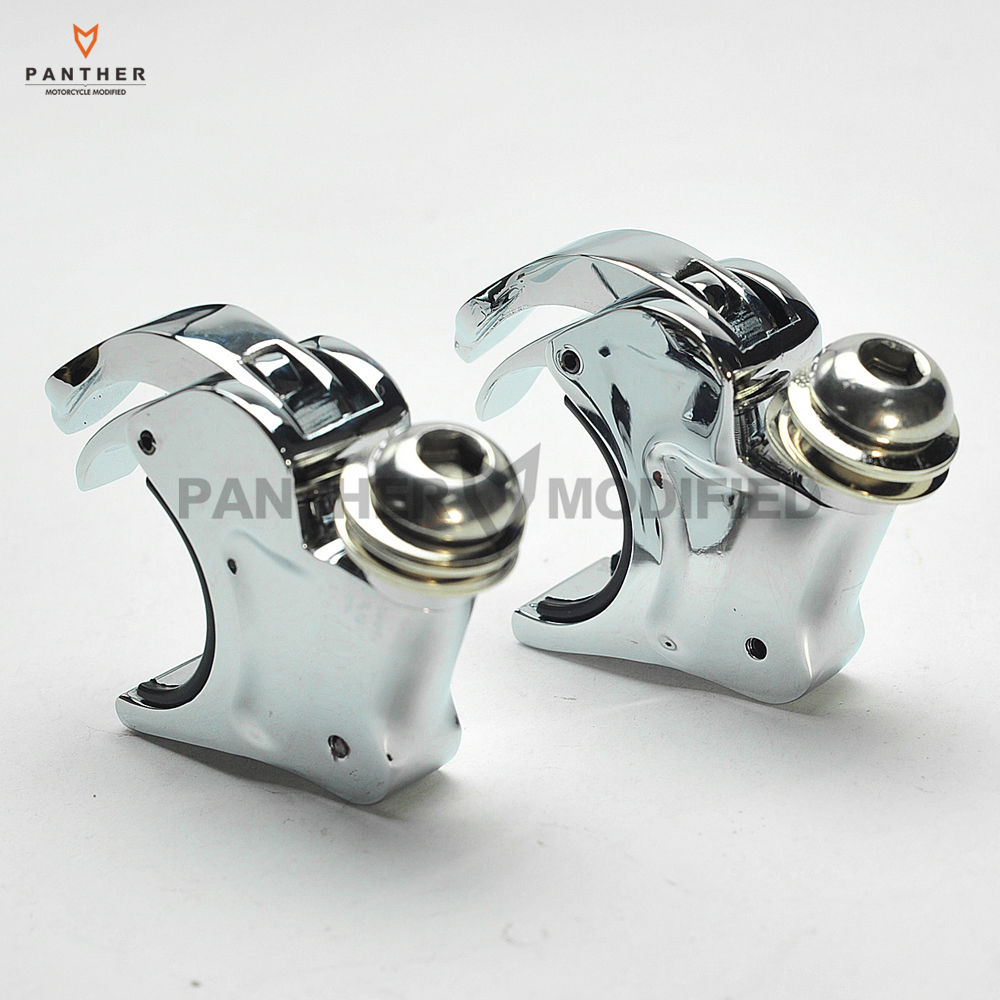 49mm 2 Chrome Motorcycle Windscreen Clamps Windshield Bracket mounting case for Harley-Davidson Dyna Sportster Custom chrome batwing fair windshield windscreen trim case for harley touring 1996 2013