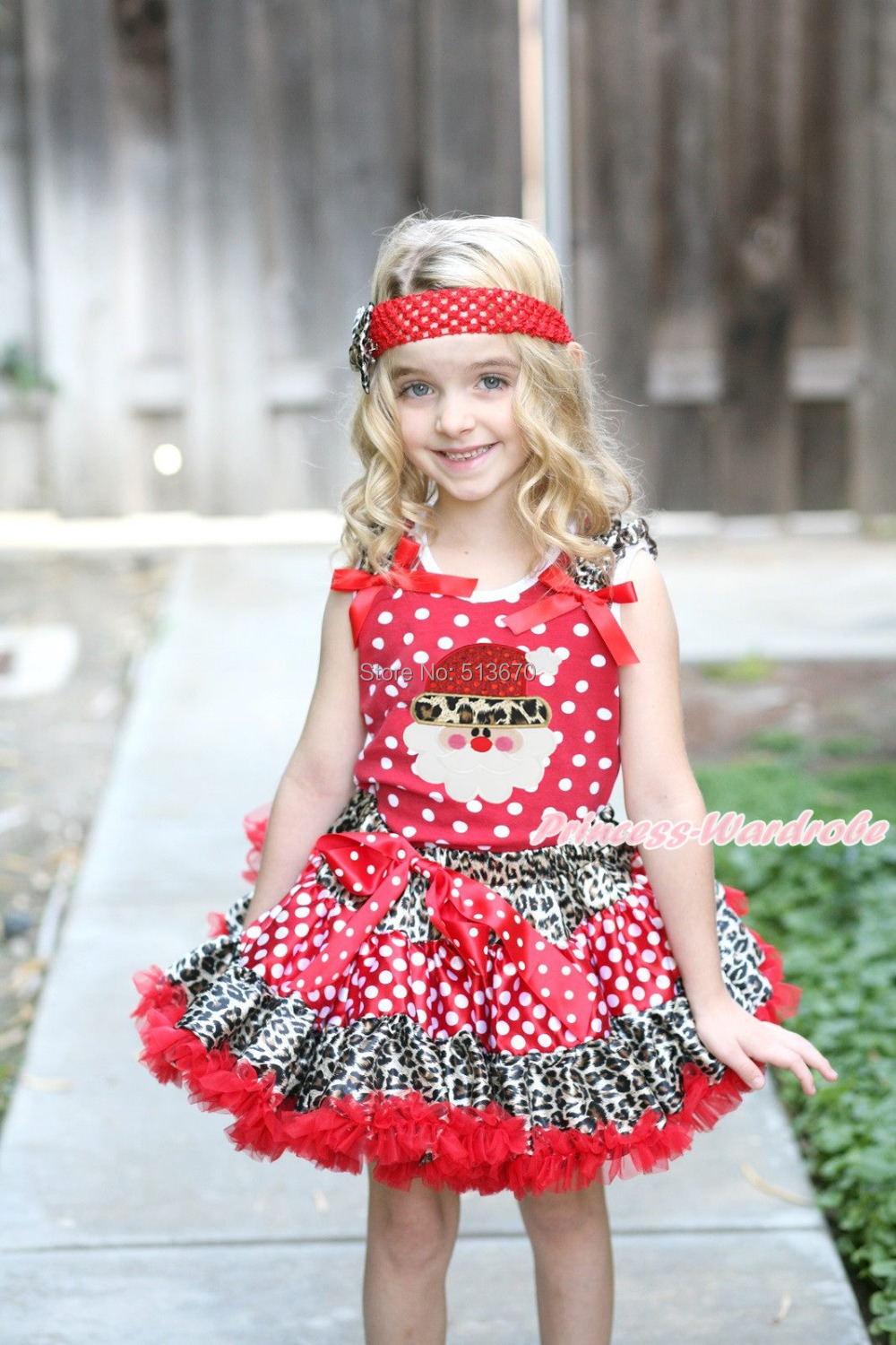 XMAS Red White Dot Top Leopard Santa Claus Print Leopard Minnie Dot Girl Skirt Set 1-8Y MAMG1243 my 1st christmas santa claus white top minnie dot petal skirt girls outfit nb 8y