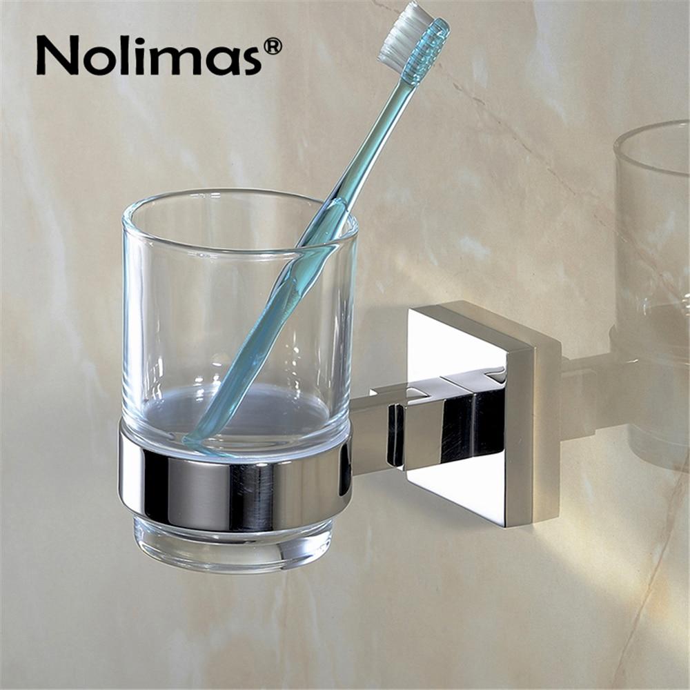Bathroom glass accessories - Bathroom Single Toothbrush Glass Cups Sus304 Stainless Steel Holder Mirror Polished Toorhbrush Cup Holders Bathroom Accessories