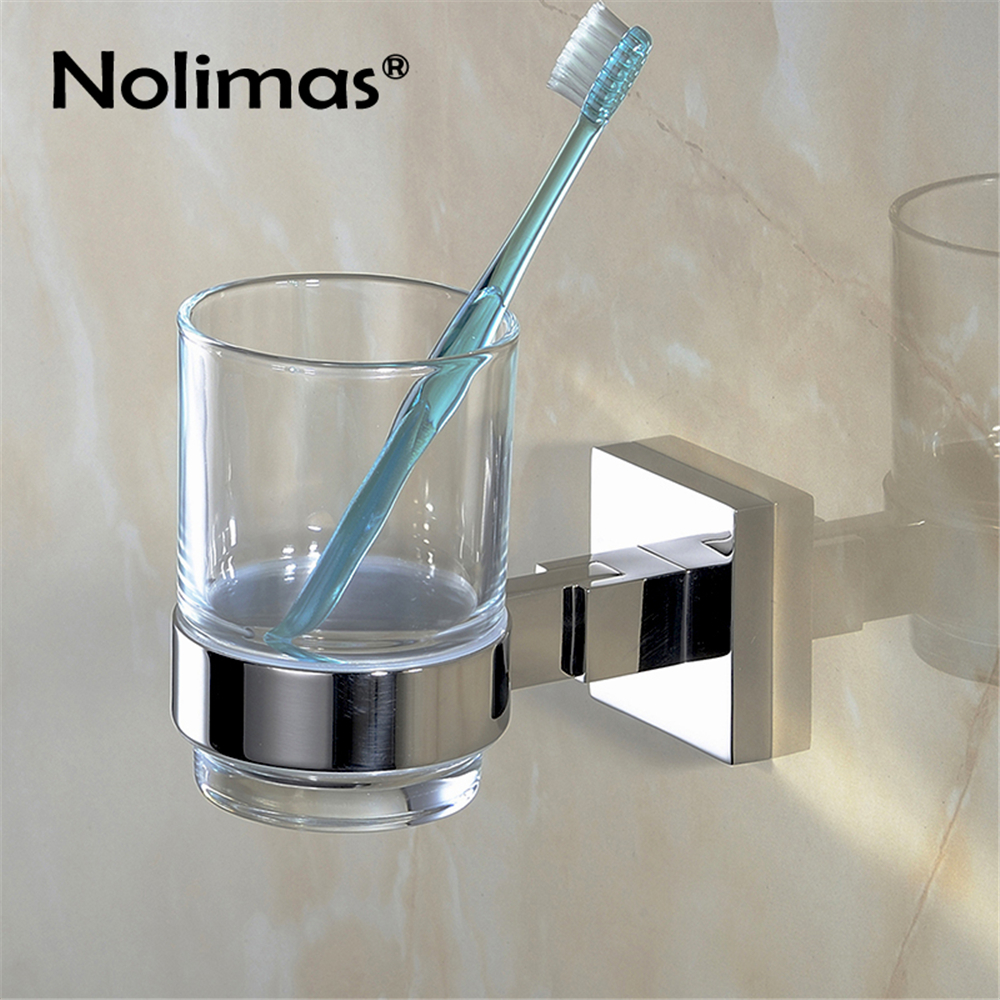 Bathroom Single Toothbrush Glass Cups SUS304 Stainless Steel Holder Mirror Polished Toorhbrush Cup Holders Bathroom Accessories toothbrush holder wall mounted square base 304 stainless steel and copper toothbrush holders with glass cups polished chrome