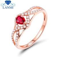 럭셔리 14 천개 로즈 골드 레드 루비 반지 웨딩 여성 주년 기념 보석 천연 다이아몬드 도매