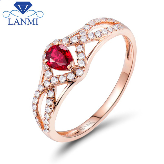 fb5e27502 ارتفع الذهب الفاخرة 14 كيلو مجوهرات الماس الطبيعي الأحمر روبي خاتم الزفاف  النساء الذكرى بالجملة