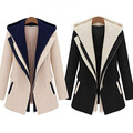 Women Slim Fit Notched Lapel Color Block Hooded Winter Fashion Outwear Blazers