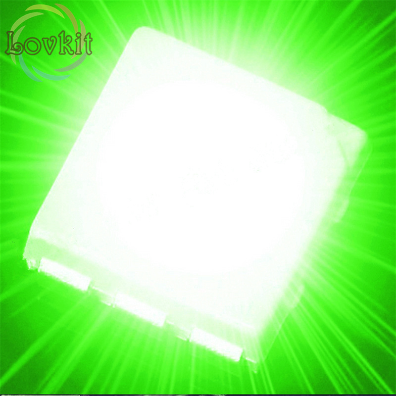 100PCS SMD 5050 Green light LED diode PLCC-6 3-CHIPS High Power