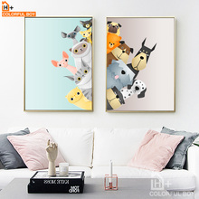COLORFULBOY Dog And Cat Nordic Posters Prints Wall Art Canvas Painting Cartoon Animal Pictures For Living Room Decor