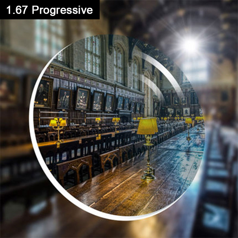 1.67 Progressive Lens SPH asortimentas -8.00 ~ + 8.00 Max CLY -4.00 Pridėti + 1.00 ~ + 3.00 optiniai lęšiai akiniams