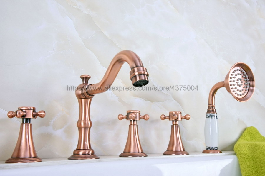 Antique Red Copper Bathroom Roman Tub Faucet Widespread 5pcs Tub Mixer Tap Deck Mounted with Hand Shower Ntf215Antique Red Copper Bathroom Roman Tub Faucet Widespread 5pcs Tub Mixer Tap Deck Mounted with Hand Shower Ntf215