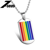 Fashion Rainbow Color Design Pendants Necklace For Men Personality Stainless Steel Bead Chain Jewelry Necklaces Friendship