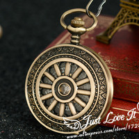 2015 Steampunk Skeleton Automatic Self Wind Mechanical Pocket Watches Men Women Luxury Antique Pendant Clock