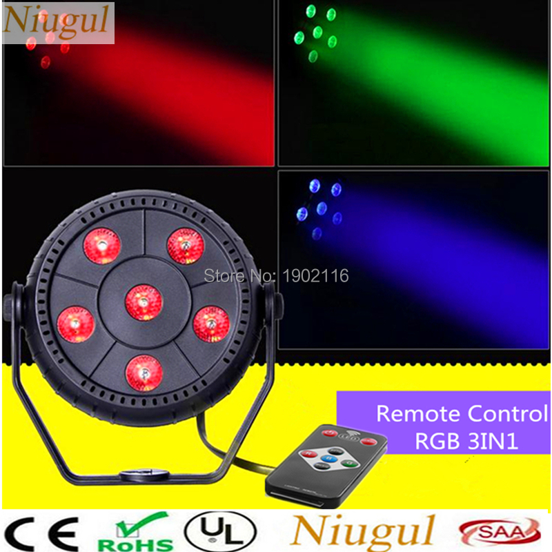 Niugul Wireless Remote Control Mini 6x3W LED Par light RGB 3in1 DJ Lighting LED Flat DJ Controller Discos KTV Music Stage Light