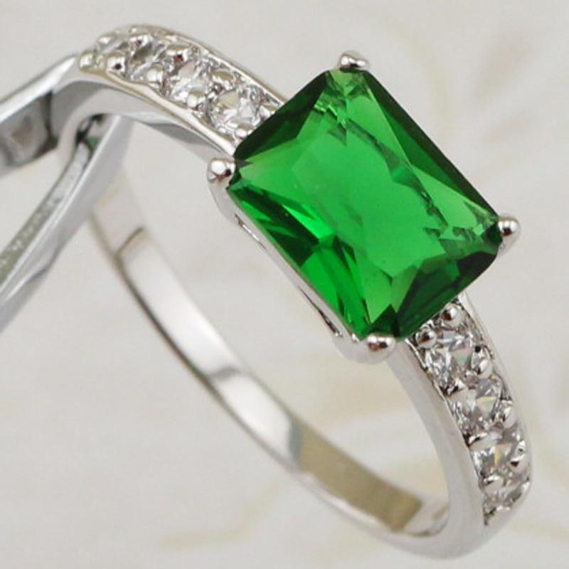 e0417e0dcc4 Size  6  7  8 Semplice Classy Nizza Verde CZ Gems Anello Rhodium Ha  Placcato I Monili Regalo Per Le Donne MB305D