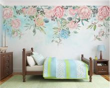Купить с кэшбэком beibehang Customized living room sofa background wall 3d wallpaper hand-painted small fresh rose papel de parede 3d wallpaper