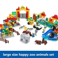 baby large size big Bricks Compatible with Duplo building blocks Zoo Animals Happy Farm Sets toys For Children gifts free ship