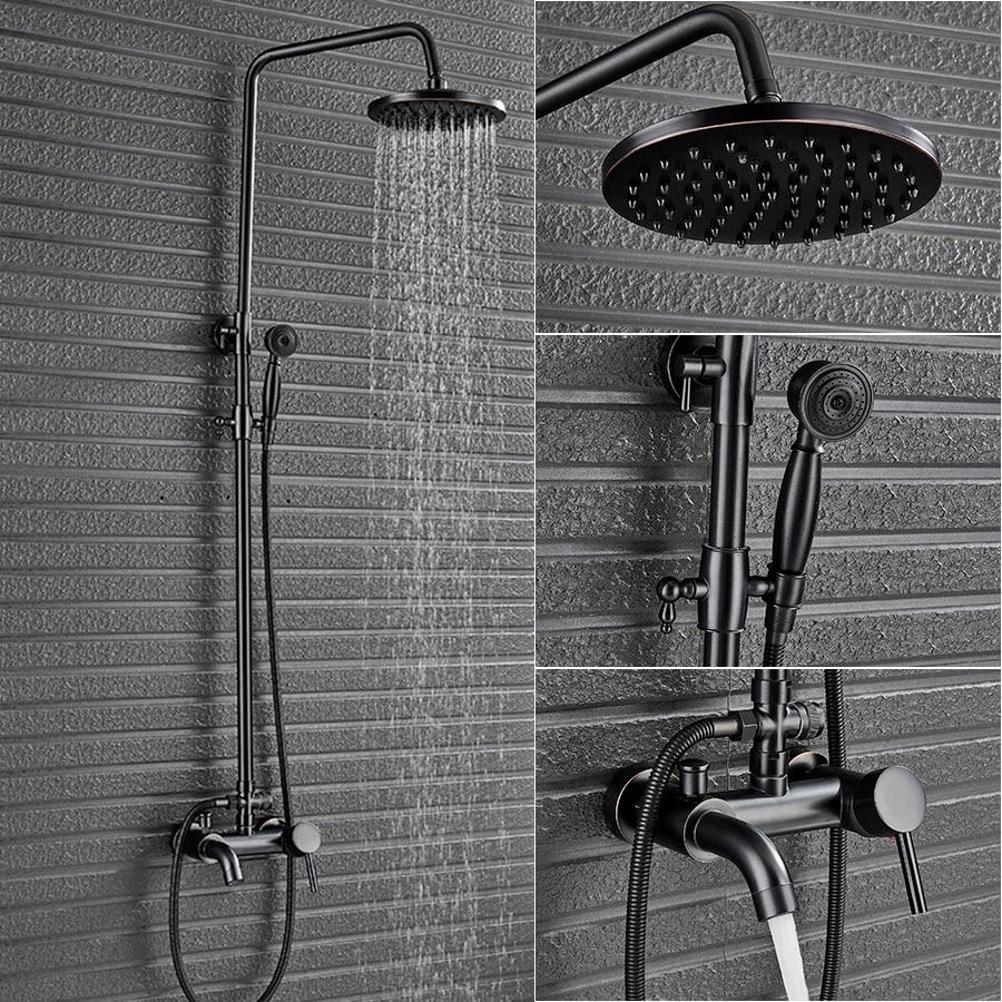 """100% QualitäT Einzigen Hebel Bad Dusche Komplette Set Wasserhahn In Wand 8 """"regen Badezimmer Wasserhahn Schwarz Messing Mit Handbrause Und Badewanne Auslauf"""