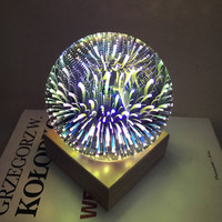 Magic 3D Glass Ball Star Fireworks Night Light USB Lanterns LED Round Ball Table Lamp For