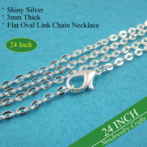24 inch Silver Rolo Chain Necklaces 60cm Metal Necklace Chains Silver Chain Necklace 24 Silver Cable