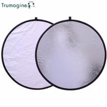 цена TRUMAGINE 60CM/24'' 2 in 1 Silver&White Round Light Reflector Portable Collapsible Photography Reflector For Photo Studio Camera онлайн в 2017 году