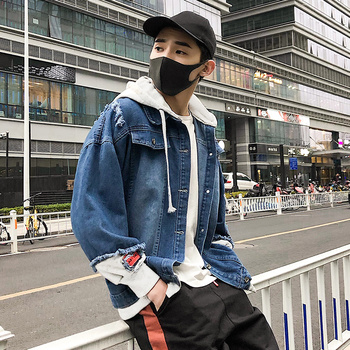 2019 New hooded denim jacket men fashion fake two pieces patchwork denim coat streetwear casual hole jacket mens denim clotheing 5